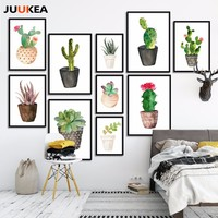 Nordic Watercolor Succulent Green Plants Canvas Art Print Poster, Cactus set Wall Paintings For Living Room Modern Home Decor