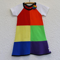 Rainbow Dress Girl's Size 5 made from Upcycled T Shirts , Recycled T Shirt Child's Rainbow Dress, Child's Raglan Sleeve Rainbow  Dress