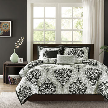 Twin/Twin XL 4-Piece Comforter Set with Black White Damask Print