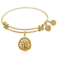 Expandable Bangle in Yellow Tone Brass with Sand Dollar Symbol