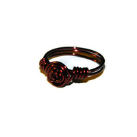 Rosette flower ring wire wrapped in brown wire/ Simple copper wire wrapped rose ring / Made to order / Custom Size