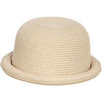 Patience Roll Up Straw Bowler Hat in Wheat
