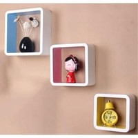 3 Retro Square Wooden Rounded Floating Cube Wall Storage Shelves
