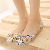 Serpentine Bow Slip-on Flats Shoes 6348