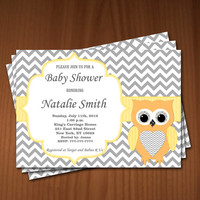 Owl Baby Shower Invitation Baby Shower invitations Printable Baby Shower Invites FREE Thank You Card - editable pdf Download 548 yellow gray