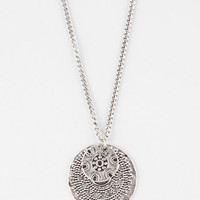 Full Tilt Medallion Necklace Antique Silver One Size For Women 25597358201