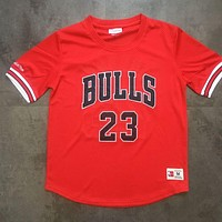 Mitchell & Ness 23 Jordan Red Short Sleeve Jersey