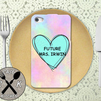 Future Mrs. Irwin Pastel Pink Tumblr Candy Heart Cute 5sos Custom Rubber Tough Phone Case For The iPhone 4 and 4s and iPhone 5 and 5s and 5c