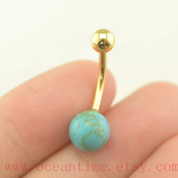 bellybutton ring,turquoise Belly Button Rings,turquoise belly button jewelry,14K gold Navel Jewelry,friendship bellyring,oceantime