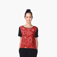 'Christmas snowflakes' Women's Chiffon Top by adiosmillet