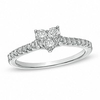 1/2 CT. T.W. Diamond Heart-Shaped Engagement Ring in 14K White Gold