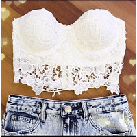 LACE HOLLOW OUT FASHION VEST