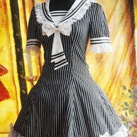 Black And White Strips Sailor Lolita Dress