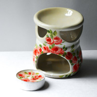 Essential Oil Burner Hand Painted Roses Tea Light Candle Holder Set Bohemian Decor FREE SHIPPING