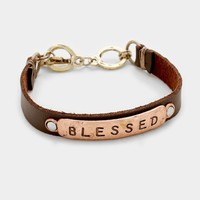"""""""Blessed"""" Faux Leather Message  Mantra Inspirational Bracelet"""