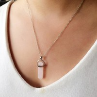 BeadyBoutique Stonehenge Necklace - Silver - Rose Quartz