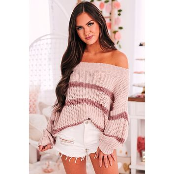 Mystery Solved Striped Off The Shoulder Sweater (Light Mauve Multi)