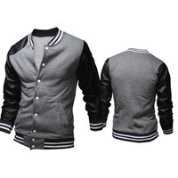 New Trendy Men's Varsity Jacket with Leather Sleeve