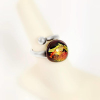 Glass Cabochon Ring - Large Cabochon Ring Size 6.75 - Foiled Glass Ring - Signed Sterling Ring - Large Foiled Ring