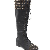 Edgy Studded & Spike Lace Up Knee High Boot In Black|Thirteen Vintage