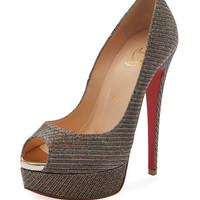 Christian Louboutin Lady Peep Glitter Chain Red Sole Pump, Gray
