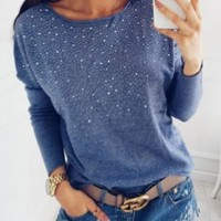 Blue Polka Dot Rhinestone Round Neck Casual Pullover Sweater