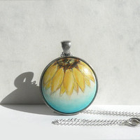 Unique Necklace, Sunflower Necklace, Half of Yellow Sunflower, Charm, Sunflower Pendant  Bezel Necklace, Hand Painted by Dorota Polland