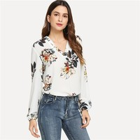 Elegant V Neck Floral Print Top Long Sleeve Workwear Lady Tops Blouses  Women Fashion Clothes