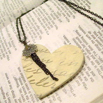 Ivory & Black Aroma Therapy Diffuser Necklace Romantic Heart Shaped Artisan Pendant Black Chain and Embellishments Personal Oil Diffuser