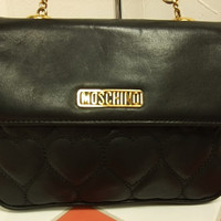 Vintage MOSCHINO black heart shape quilted lambskin shoulder purse with chain straps. Can be a hip bag and clutch handbag as well.