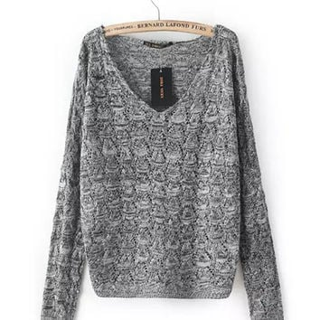 V-Neck Long Sleeves Ribbed Knit Sweater