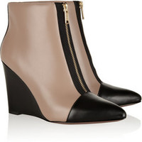 Marc by Marc Jacobs Two-tone leather wedge ankle boots – 50% at THE OUTNET.COM
