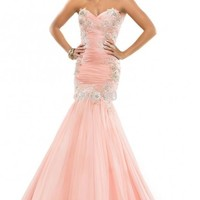 Applique Mermaid Open Back 2015 Evening Formal Prom Dress Celebrity Party Gown