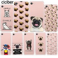 Cute Funny Pug Dog French Bulldog Puppy Silicon Transparent Soft TPU Phone Case for Apple iphone 6 5S SE 6S 7plus 5 6plus Fundas