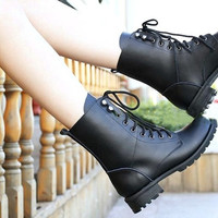 Women's Cool Black PUNK Military Army Knight Lace-up Short Boots