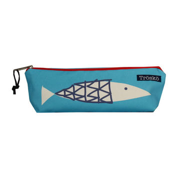 Fish pouch, blue,  by Trosko, designed and sewn in Maine