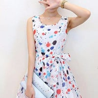 Sleeveless Multi Color Printed Mini Dress