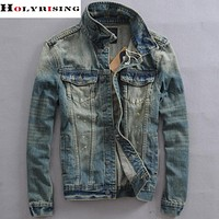 Men vintage denim jacket men's short coat Slim men slim turn down jeans wear male clothing