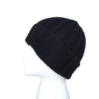 100% Cashmere Hat, Black, Knit, Slouch Beanie, Ribbed, Gift for Him/Her