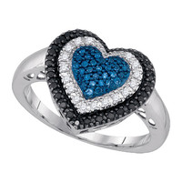 Diamond Fashion Heart Ring in 10k White Gold 0.27 ctw