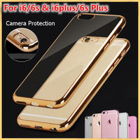 "New For iPhone 7 & 7 Plus SE 5 5s Rose Gold Electroplating Case For iPhone 6 6s 4.7"" 6s Plus 5.5"" Soft Tpu Silicone Case Cover"
