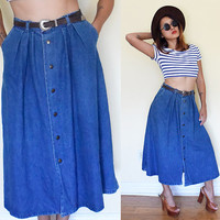 Vintage button down flare full skirt denim jeans dark wash pleated maxi