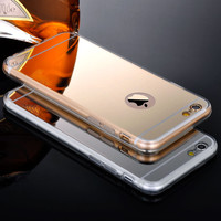 Mirror Back Cover For Iphone 5 5S 5G Phone Cases Clear Silicone Edge Shinny