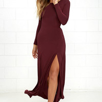Swept Away Burgundy Long Sleeve Maxi Dress