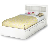 South Shore Spark Twin Storage Bed and Bookcase Headboard, Pure White