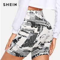 Modern Lady Black and White Allover Letter Print Shorts