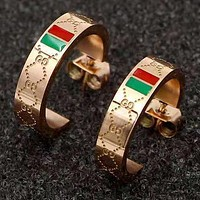 GG fashion wild double letter red green horizontal strip earrings Ear studs Rose Gold