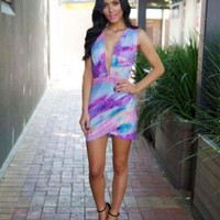 Water Color Print Wrap Dress with Plunging V-Neck