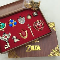 The Legend of Zelda Necklace keychain Pendant 10pcs Set Wood Box Collection - Free Shipping
