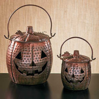 Metal Pumpkin Lantern Set Hanging Candle Tealight jack o lantern Halloween Fall